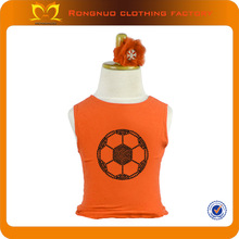 Latest design 100% cotton kids knitted vest for 2014 World Cup rhinestone football print patterns wholesale baby vests orange