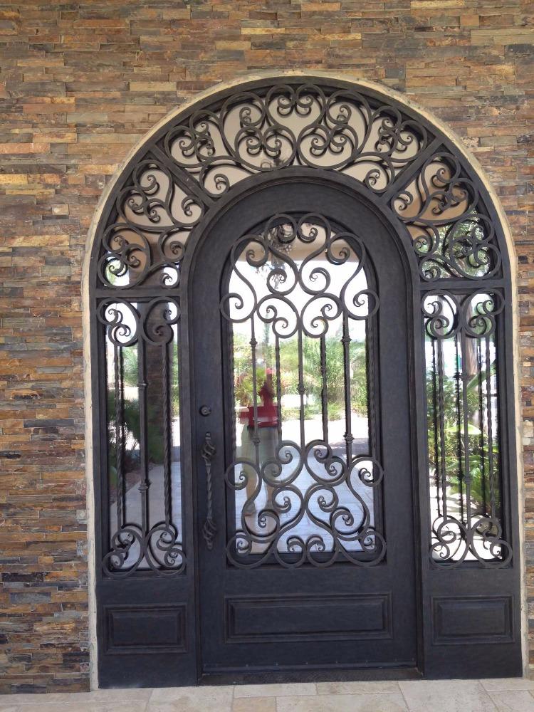 parte superior del arco doble puerta de reja de hierro forjado puerta de entrada de hierro