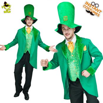490b78de2b7 Homme Lutin Costume Manteau Gilet Chemise Chapeau Pantalon Adulte Drôle  Vert Homme Costumes Pour La Fête