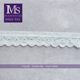 High quality 5cm width white embroidery cotton lace trim with eyelet