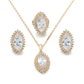 24k Gold Dubai Jewelry Set2017 Alibaba Latest Design Big Diamond Cz
