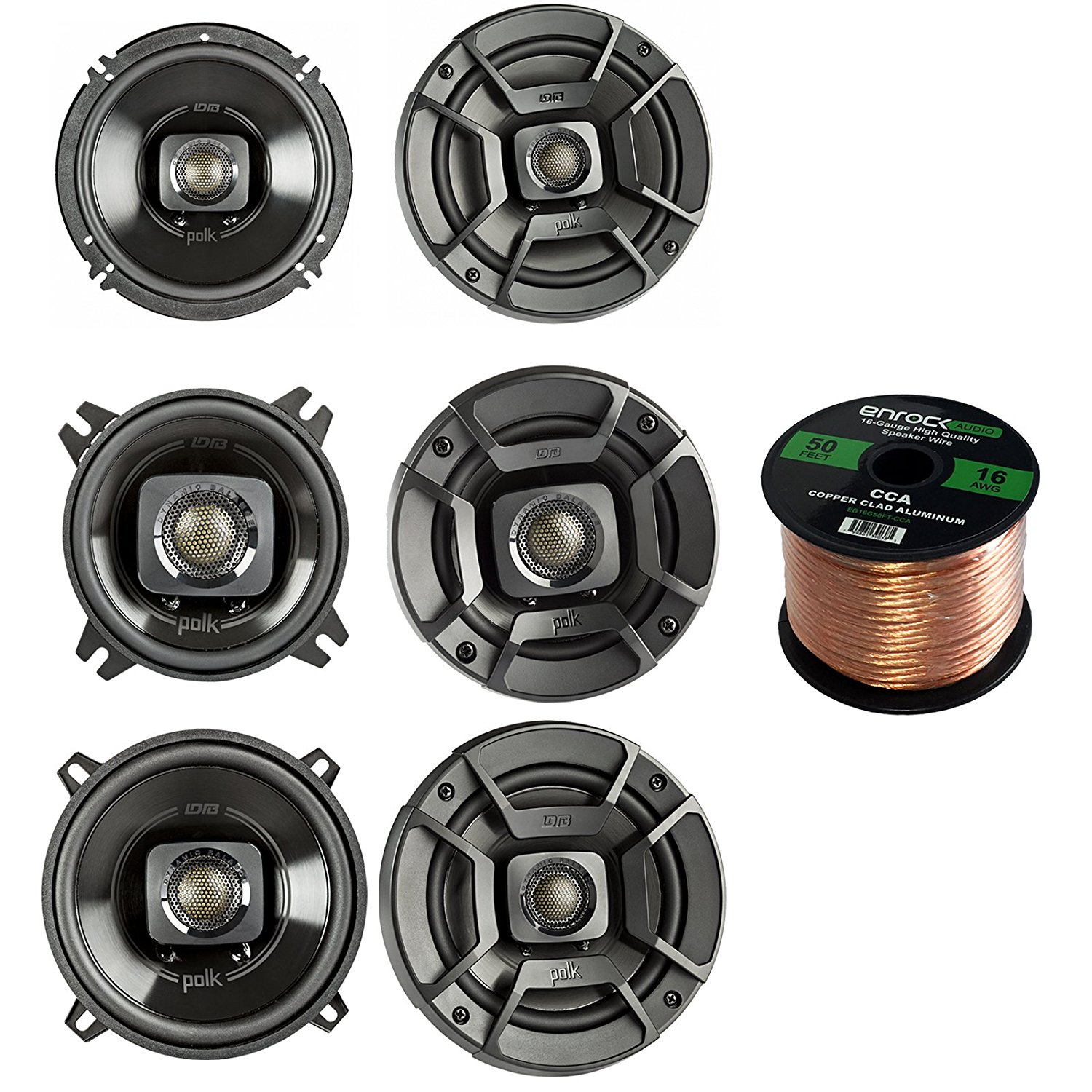 "Polk DB402 4-Inch 135W 2-Way Black Speakers w// Boss 6x9/"" 3-Way 400W Car Speakers"