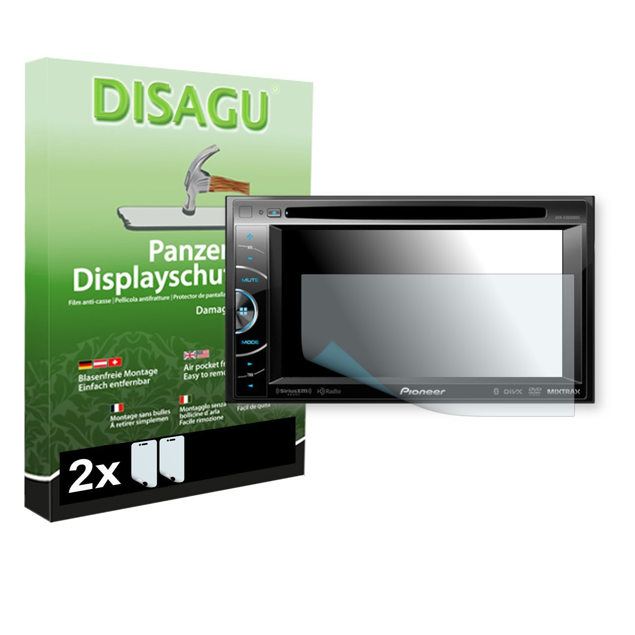 2 x DISAGU Armor screen protector for Pioneer AVH-X3600BHS screen fracture protection film