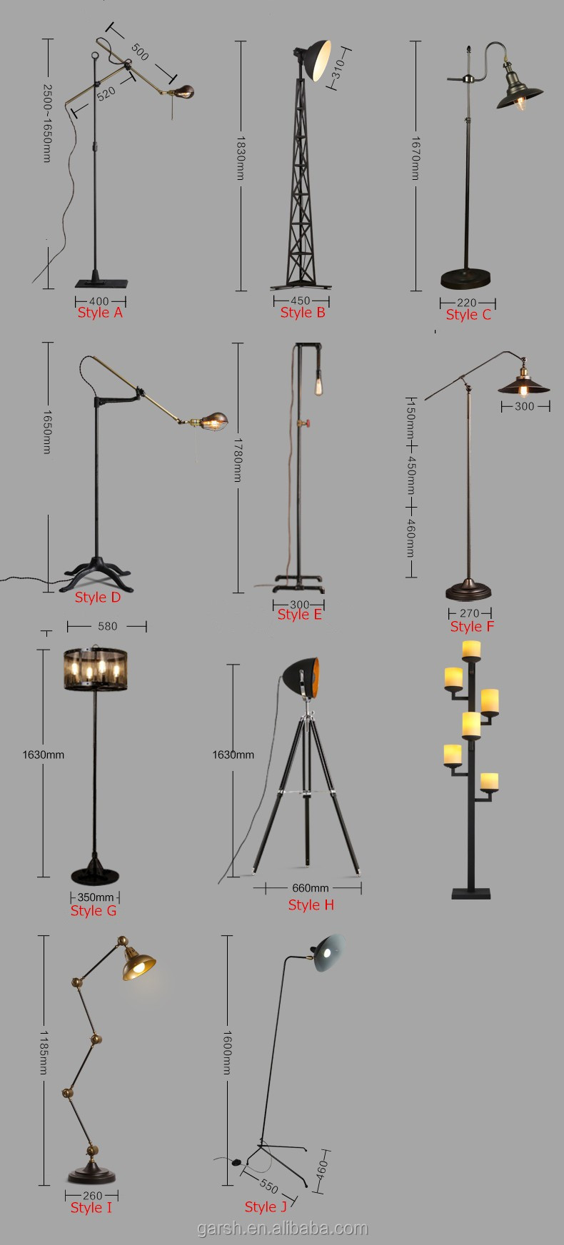 Industrial Wrought Iron Floor Lamp Tripod Flexible Arm Standing ...