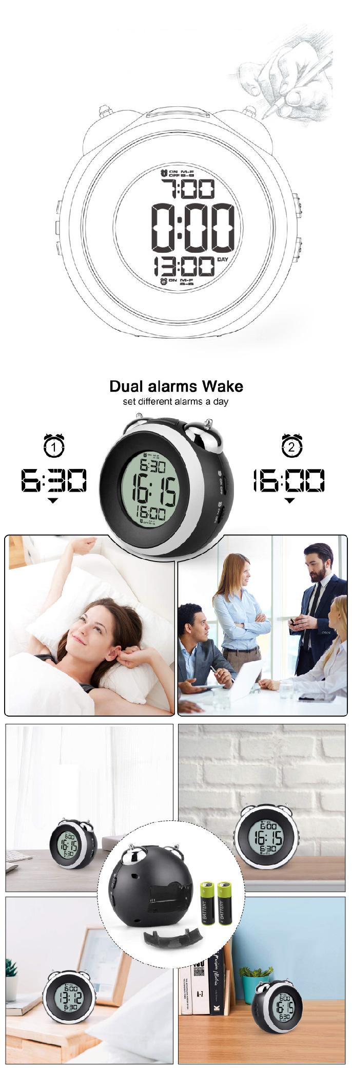 อิเล็กทรอนิกส์กระดิ่งโลหะจอแสดงผล LCD เลื่อนหลัก Wake up กลับโคมไฟตั้งโต๊ะ Dual นาฬิกาปลุกดิจิตอลนาฬิกาสำหรับโรงแรมเด็ก