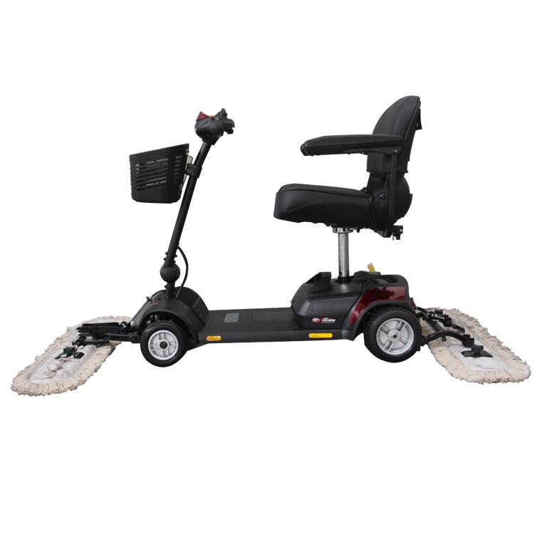 Elektrische Floor Cleaning Scootmobiel met Duwen Rijden Mop Stof Winkelwagen