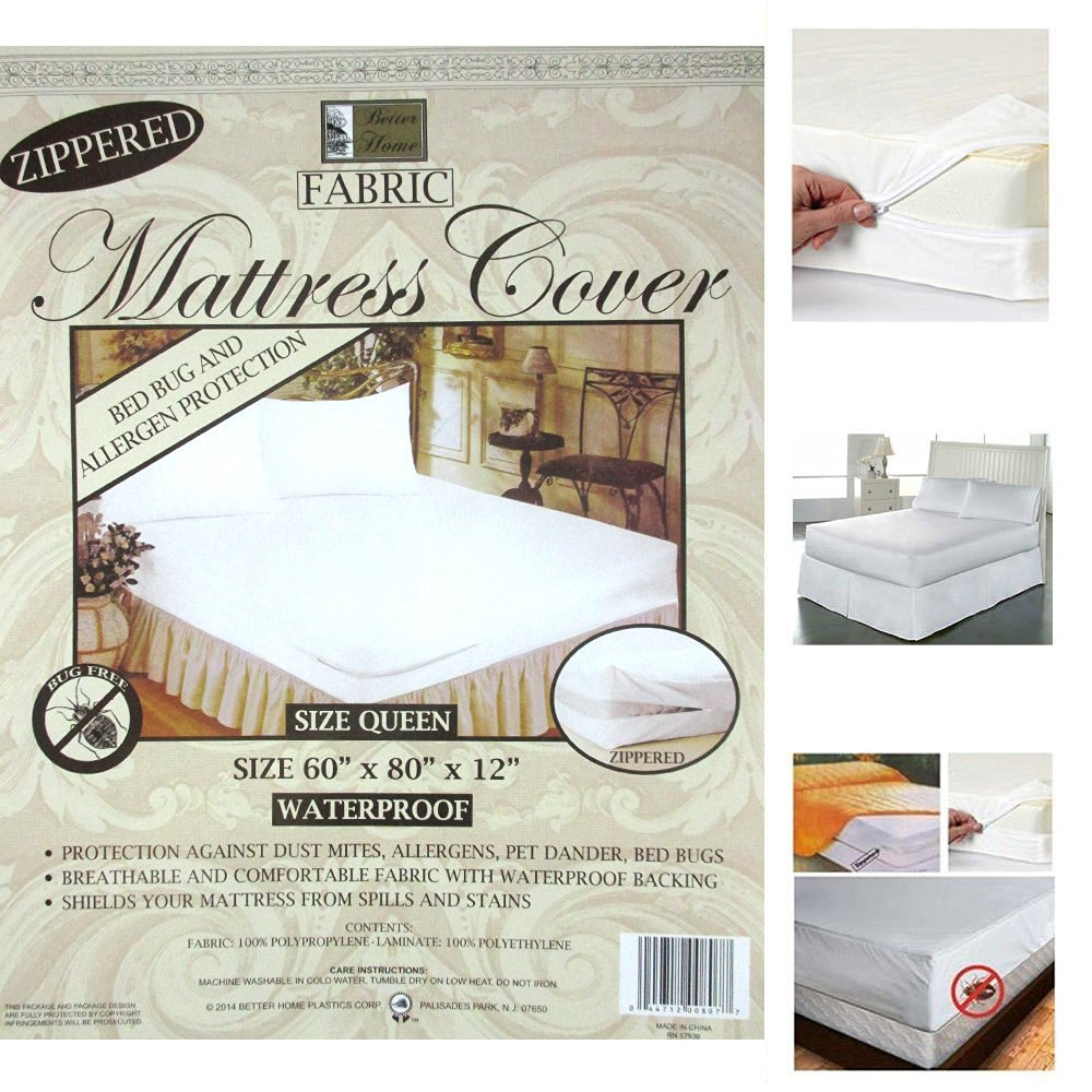 Get Quotations · 1 Queen Size Zippered Mattress Cover Waterproof Bed Bug Dust  Mite Protector New