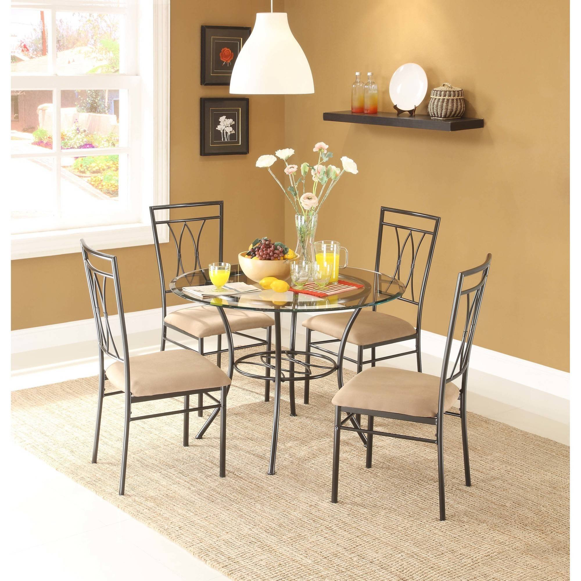 """Dining Set Metal Chairs Kitchen Table Furniture Modern Wood 4 Breakfast 5 Piece Stylish Apartment Home Side, Table size: 42""""L x 42""""W x 30""""H, Chair size: 18.5""""L x 18.5""""W x 39""""H"""