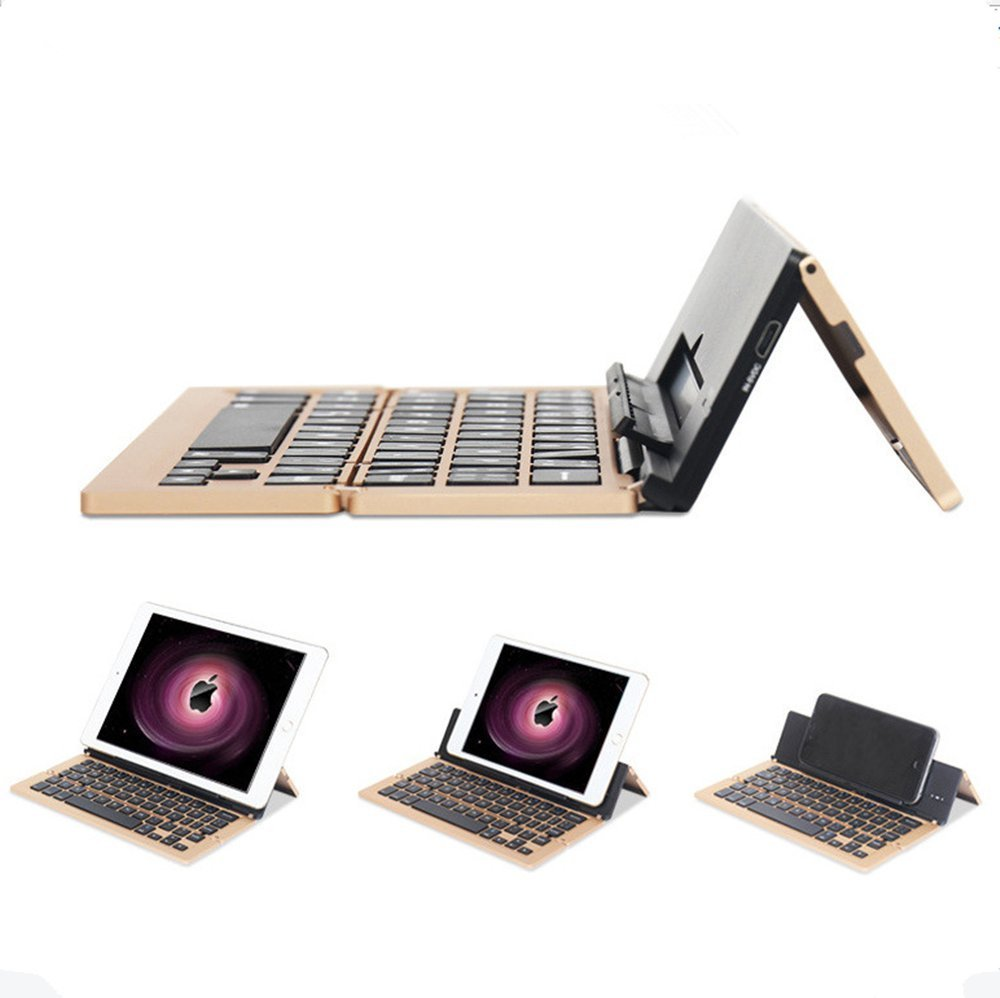 Three Folding Aluminum Wireless Bluetooth Keyboard for iPads, Smartphones, PC, Tablets and for Apple / Android / Windows System Built in Rechargeable Li-polymer Battery (Golden)