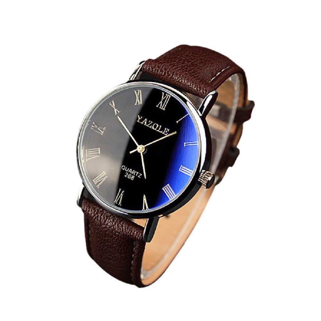 FAPIZI Mens Watch}Clearance✿Fashion/Luxury{Faux Leather}Mens Quartz/Analog Watch Watches
