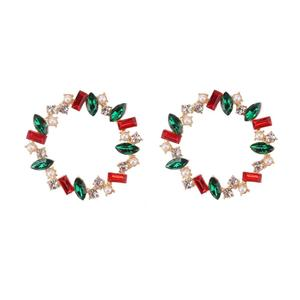 17840 Barlaycs Wholesale Brightly Crystal Colorful Big Stud Hoop Earrings for Women Accessories Christmas Gift for Girls