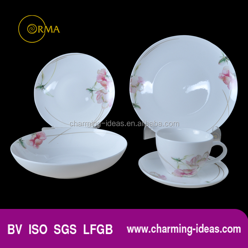 Manufacture Ceramic Flower Pattern Tableware Set Plate And Dishes Microwave Oven For Home