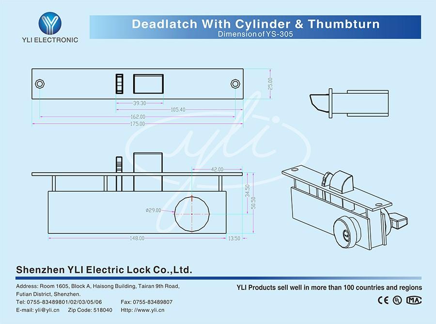 deadlatch with cylinder thumbturm mechanical lock ys. Black Bedroom Furniture Sets. Home Design Ideas