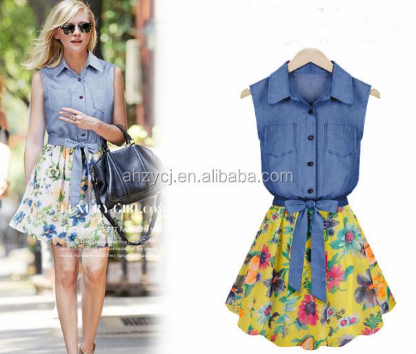 6e6c23ccb6ea2 أوروبا وأمريكا الجديد السيدات الملابس الجينز الصيف بلا أكمام موضة فستان  زهري الشيفون خليط