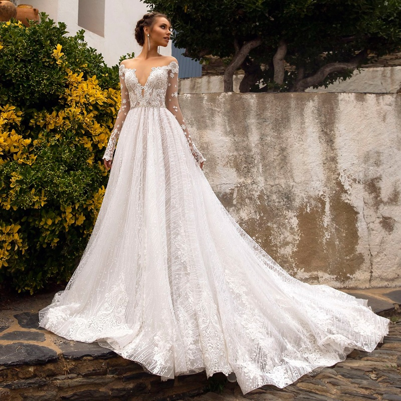 Latest Beach Wedding Dress Open Back Long Sleeve Lace Illusion Wedding Dresses Italian A Line Bridal Gown 2019 Robe De Mariage Buy Wedding Dress Bridal Gown Bride Dresses Wedding Gowns For Plus