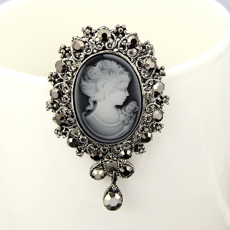 6PCS Vintage Brooch Pins Gothic Steampunk Victorian Cameo Brooches Rhinestone Hijab Pins Broche Silver Brooch for Vestido 2015