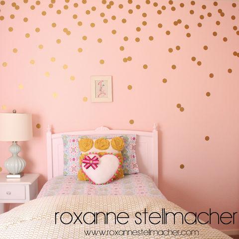 50 2 Inch Polka Dots Vinyl Wall Art Decals Wall Sticker Confetti Gold Circle