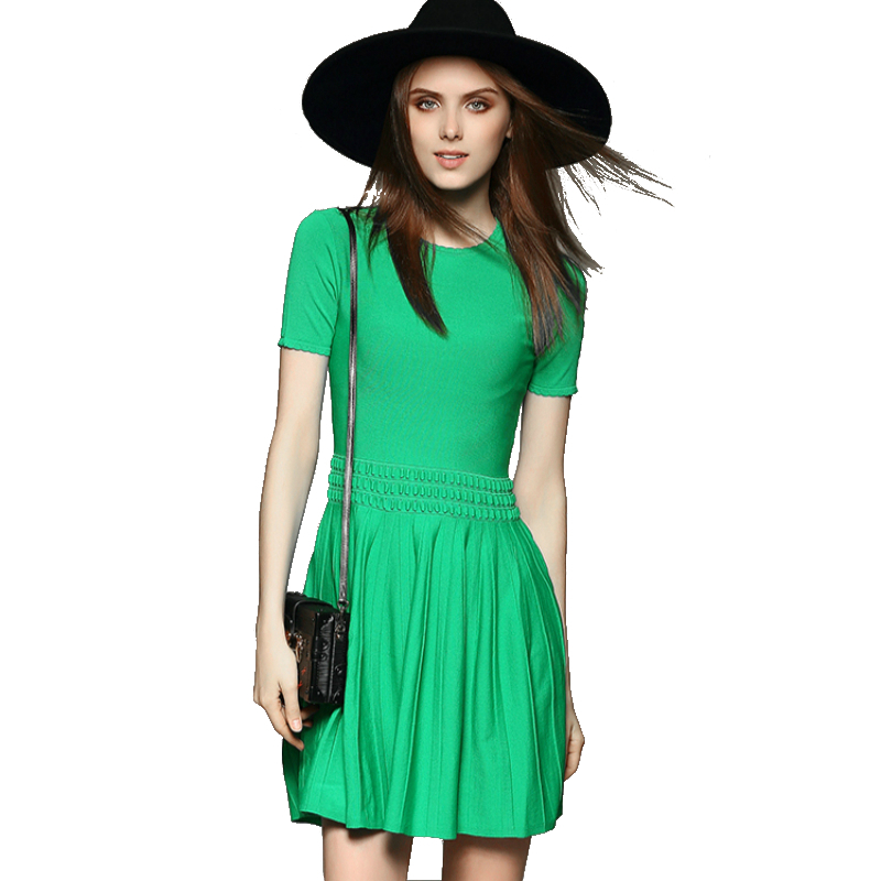 women autumn winter dress free shipping 2015 short sleeve black green solid color thick knitting fashion brand casual dresses