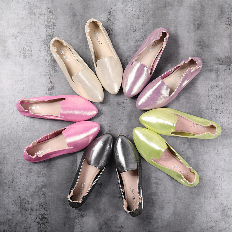 wholesale sheepskin sparkling ladies nude shoes elastic cord slip-on