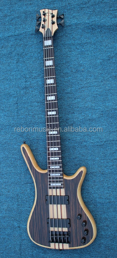 5 string active pickup neck through body electric bass guitar with rosewood veneer cover