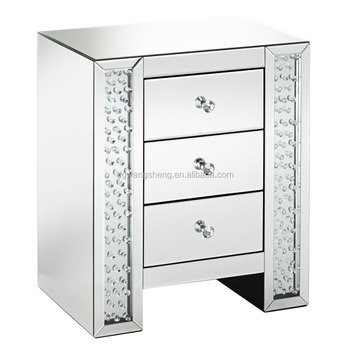 Fostoria Silver Mirrored 3 Drawer Crystal Bedside Table