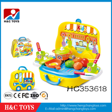 2017 New fashion toy kitchen set plastic toy suitcase for kids HC353618