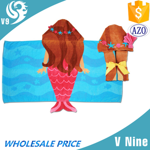 hot selling 100% cotton woven wholesale kid mermaid poncho towel