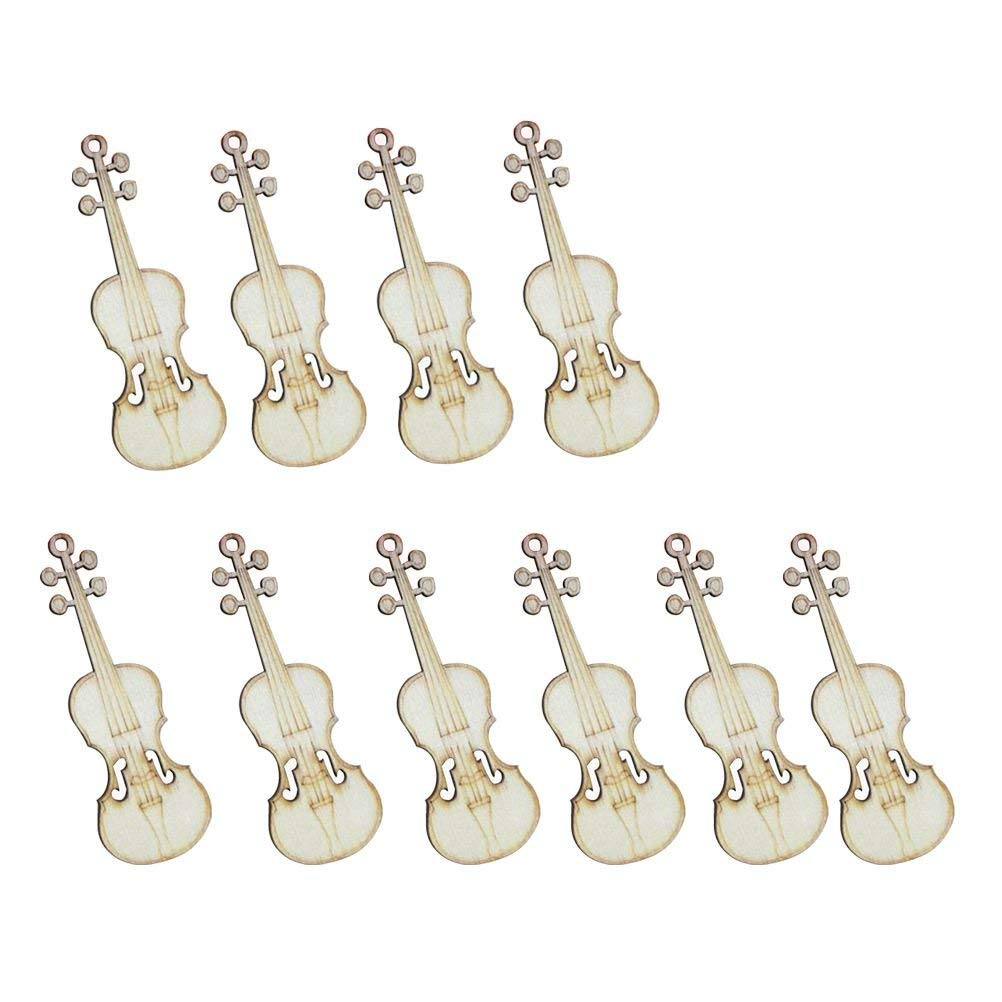 Toogoo 10 Pcs Unfinished Violin Sheap Wood Cutout Chips For Board Game Pieces Arts Crafts Projects Ornaments