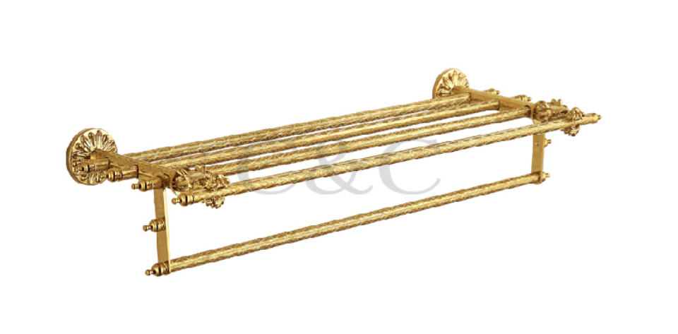 Double Bathroom Towel Racks Noble And Elegant Solid Brass