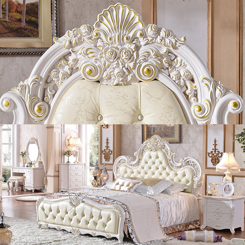 White Fancy French Style 8 Pieces Home Bedroom Furniture Set