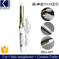 Brand new 2 in 1 Salon Hair straightener + Ceramic Curling Curler Roller Iron As Seen TV Wave Wand Dual Voltage