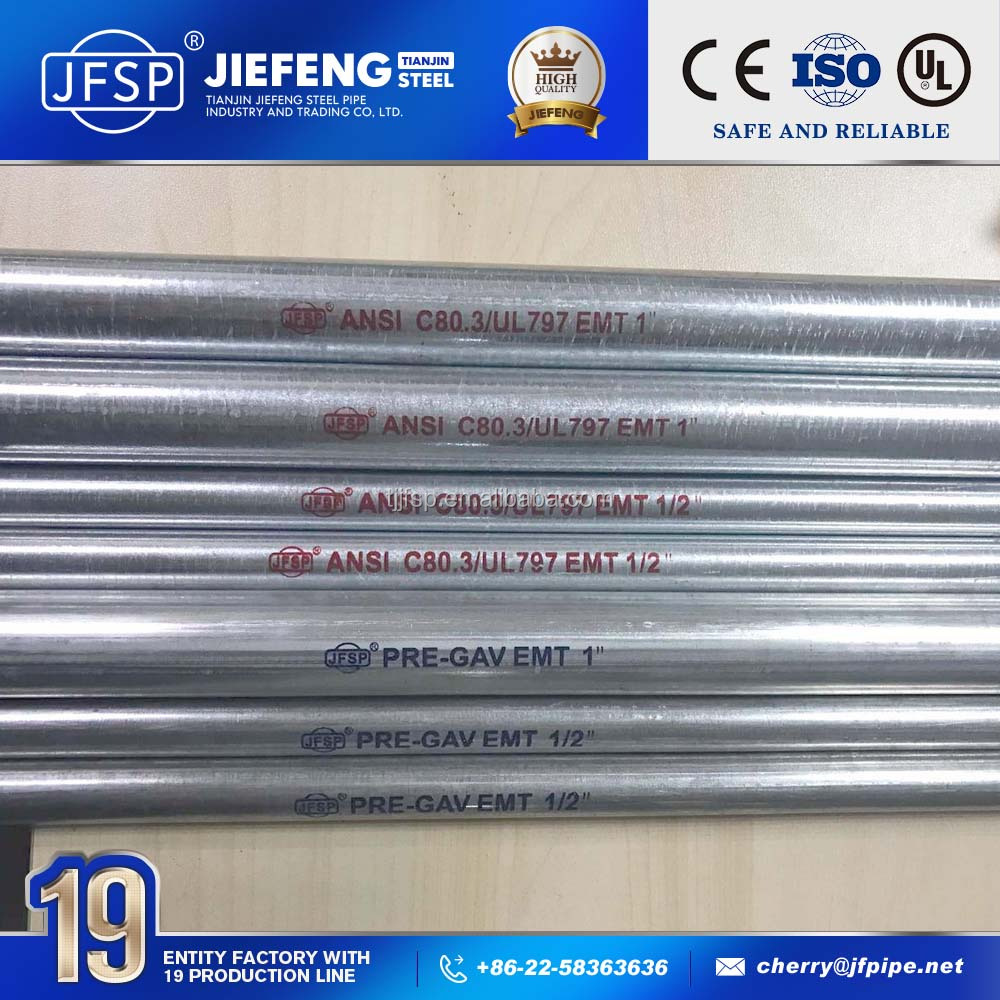 UL and FM listed galvanized steel pipe price per meter emt pipes