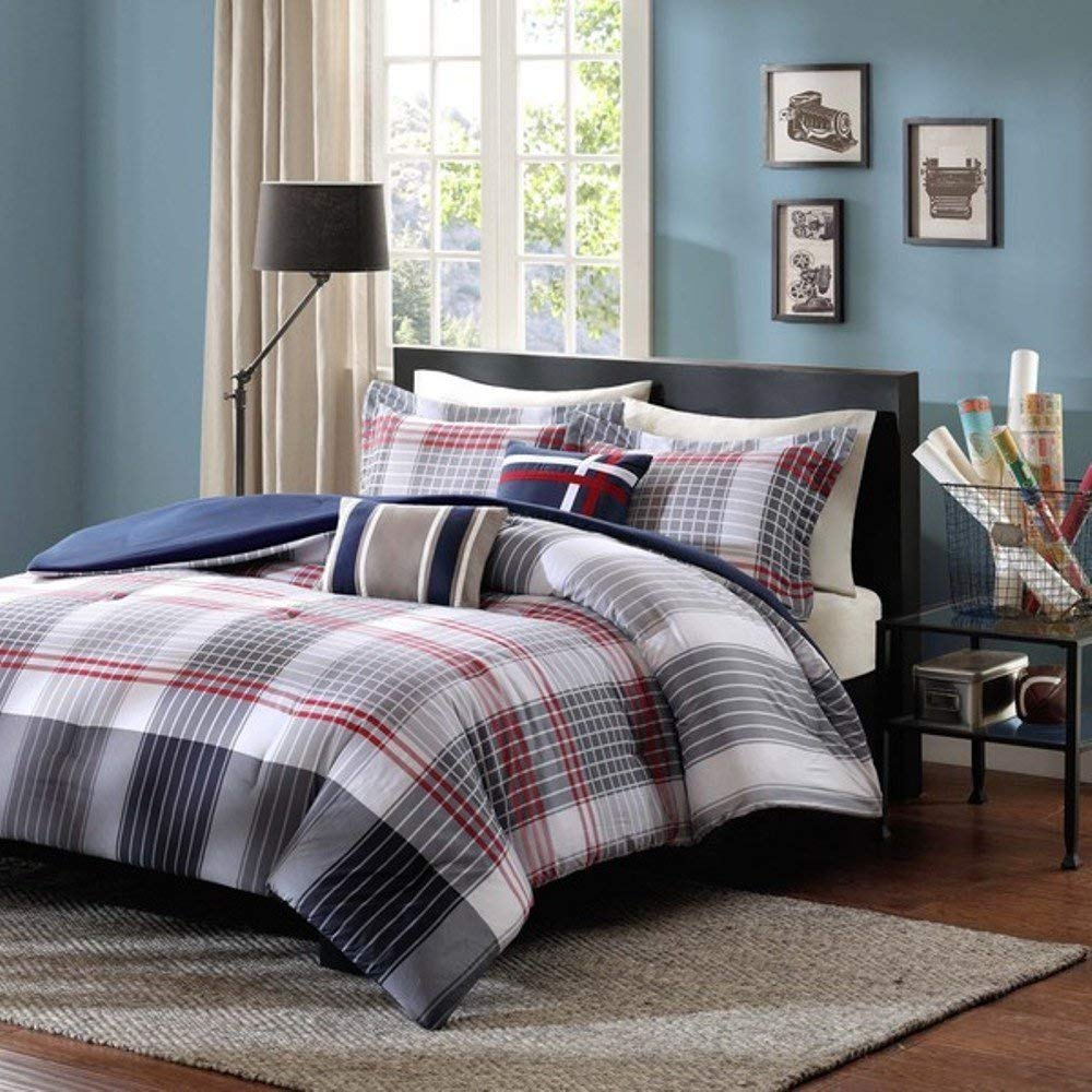 5 Piece Red Dark Blue Grey Madras Plaid Comforter Full Queen Set, All Over Multi Glen Checkered Bedding, Tartan Check Stripe Lodge Cabin Themed, Country Woven Pattern, Burgundy Light Gray Navy White