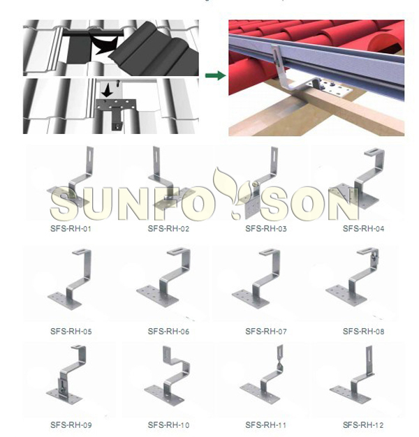 Pitched Roof Solar Panel Parts Tile Roof Aluminium