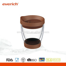Borosilicate Latte Glass Cup with Silicone Bottom and PP Lid