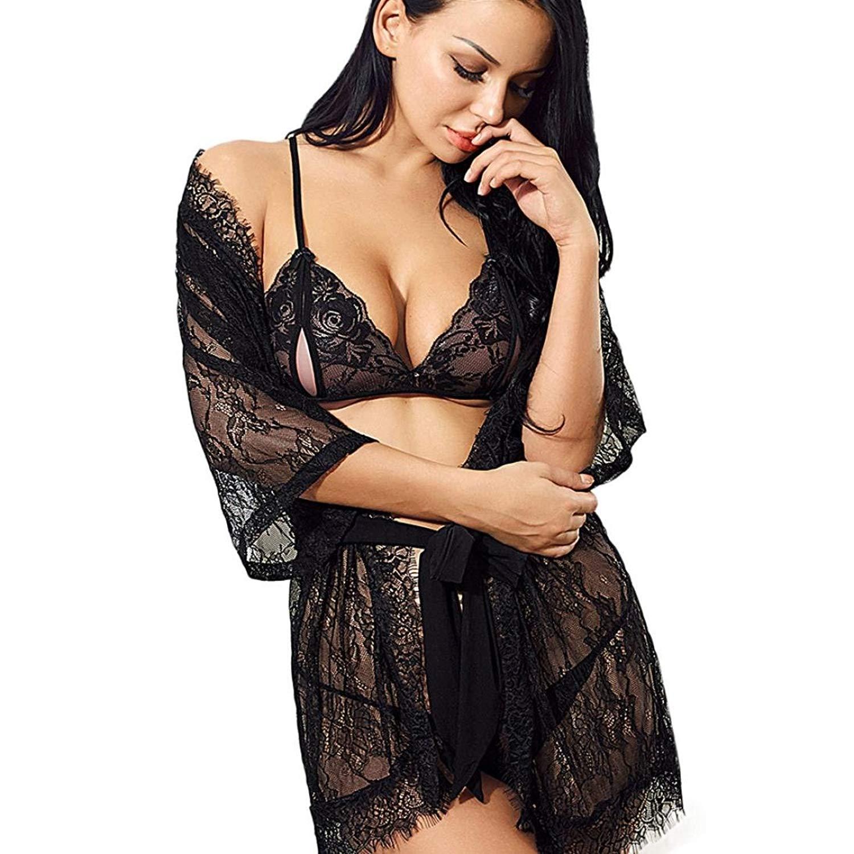 e45ef903616 Makaor 4PC Women Lace Lingerie Suit Bath Robe Lace Bra Panty Belt Lingerie  Sleepwear Teddy