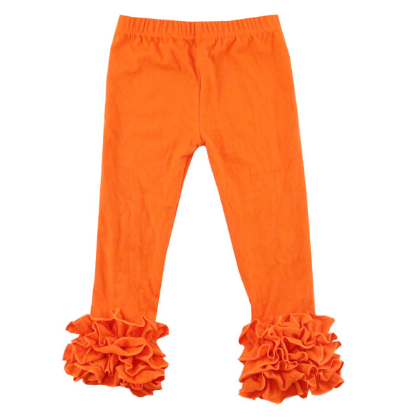 Icing Ruffle Leggings Wholesale Children's Boutique Clothing Kids Trousers for Spring/Autumn Girls Vivid Solid Pants