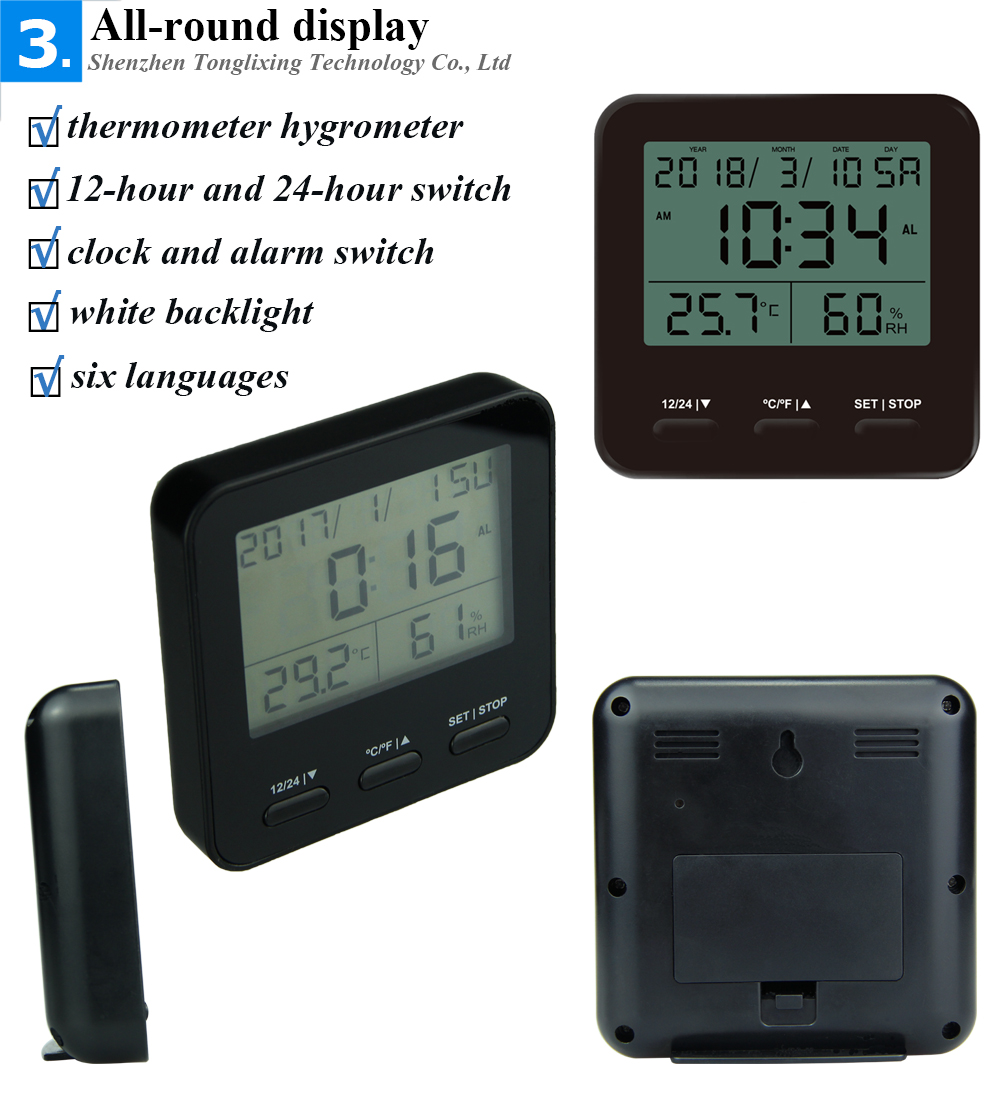 Large screen thermohygrometer digital alarm digital thermometer with 6 languages for room DTH-129