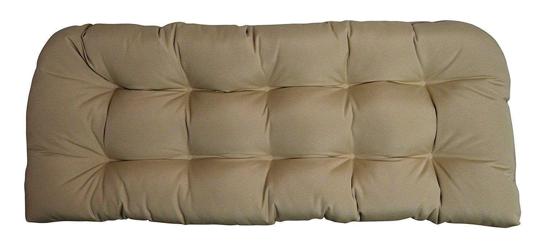 Sunbrella Canvas Antique Beige Wicker Love Seat Cushion - Indoor / Outdoor 1 Tufted Wicker Loveseat Settee Cushion