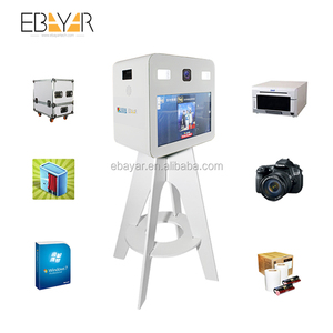 wedding photo booth machine including flight case,mental case and adjust-able stand and touch panel and camera and printer
