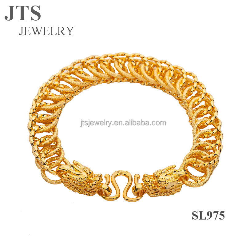 Men's Vintage 24K Yellow Gold Plated Bracelets Bangles Hand Chain Jewelry <strong>Accessories</strong> with Dragon Heads SL975