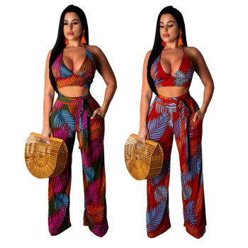 2019 Ladies Sexy two piece outfits elegant V Neck tie crop top palazzo long pants floral jumpsuit