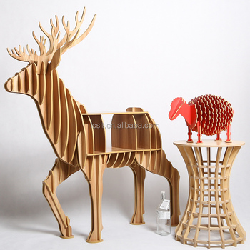 Animal Wooden Craft Reindeer Bookshelf Reindeer Sofa Side Table