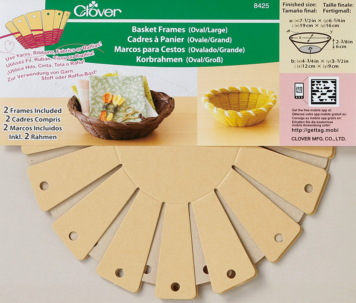 Clover 8425 2-Piece 6-1/4-Inch by 7-1/2-Inch by 2-3/8-Inch Basket Frames, Large, Oval