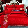 Luxury Jacquard 4 pcs bedding embroidered cotton handloom bedsheets single christmas bed sheets