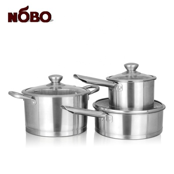 Tri-ply Quality Chef's Cooking Tool Double Bottom Industrial Cooking Pot Set Stainless Steel with Tempered Glass Lids