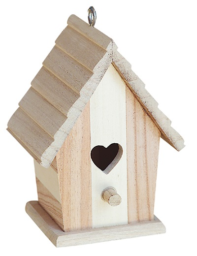 Natural Solid Wood Joint Wooden Birds Home/ House with Hanging Parts