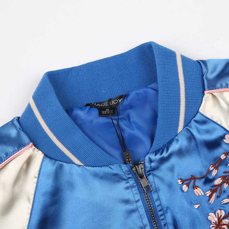 HAODUOYI Floral Embroidered Satin Bomber Jackets Color Contrast Varsity Jacket Women Clothing