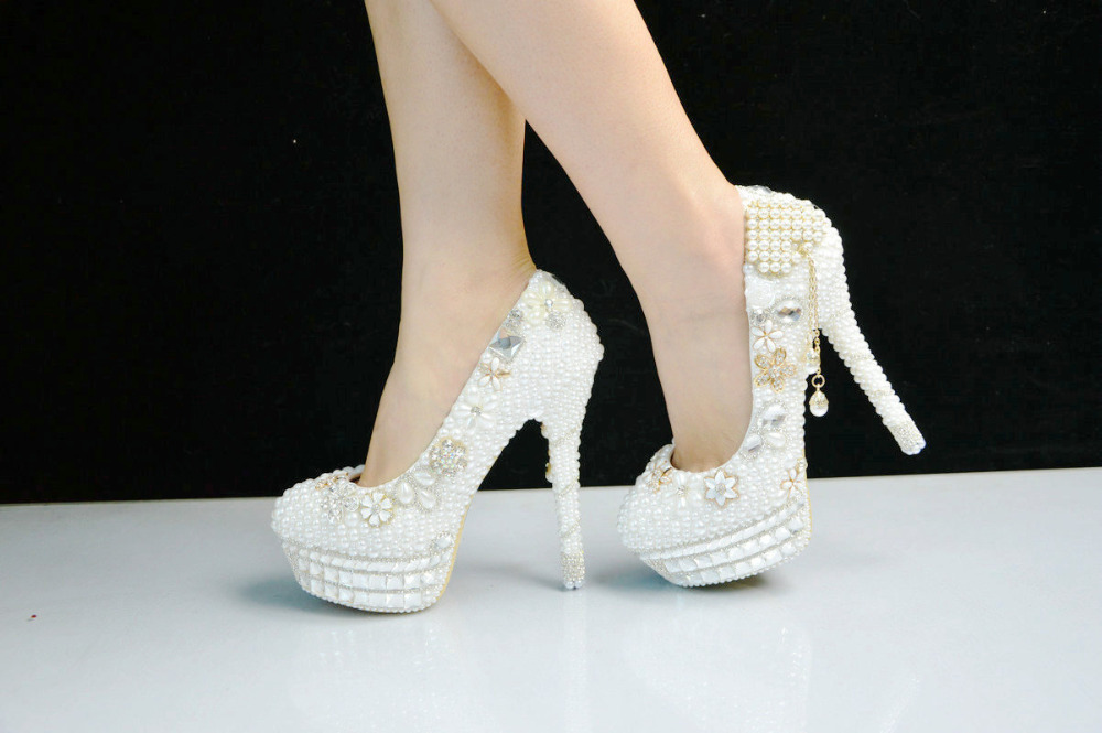 wedding white shoes high women's pearl BS003 platform bridal pumps gentlewomen fashion heel wedding shoes v5HvIS