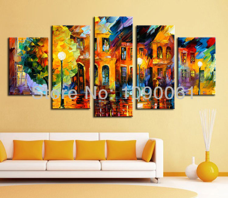 night street scene handmade 5 piece canvas art sets wall paintings modern abstract oil pictures. Black Bedroom Furniture Sets. Home Design Ideas